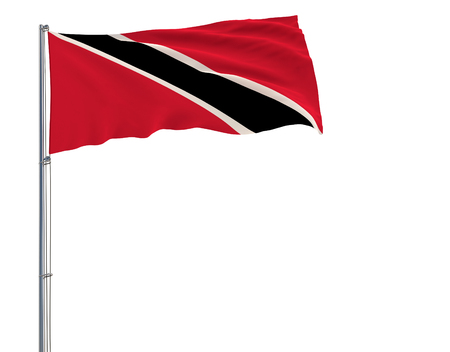 Isolate flag of Trinidad and Tobago on a flagpole fluttering in the wind on a white background, 3d rendering Stock Photo