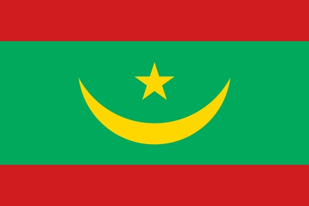Flag of Mauritania official colors and proportions, vector image Illustration