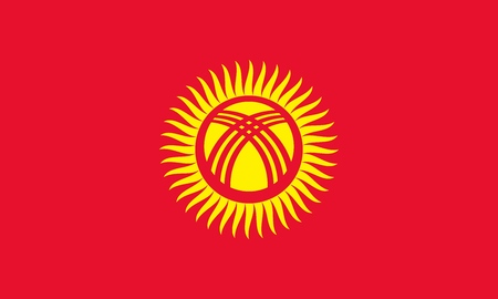 Flag of Kyrgyzstan official colors and proportions, vector image