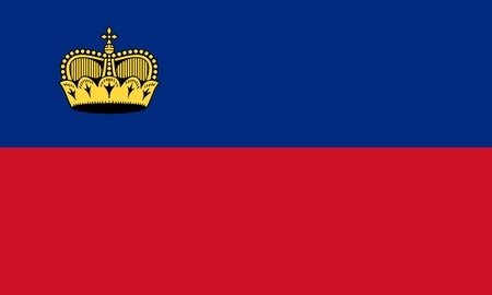 Flag of Liechtenstein official colors and proportions, vector image. Illustration