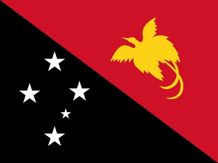 Flag of Papua New Guinea official colors and proportions, vector image.