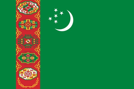 Flag of Turkmenistan official colors and proportions, vector image.