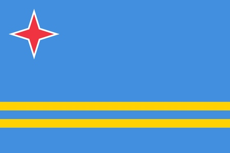 Flag of Aruba official colors and proportions, vector image