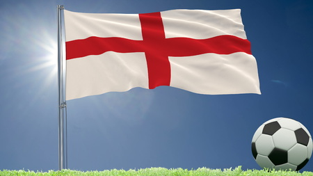 Flag of England fluttering and a football rolls on the lawn, 3d rendering