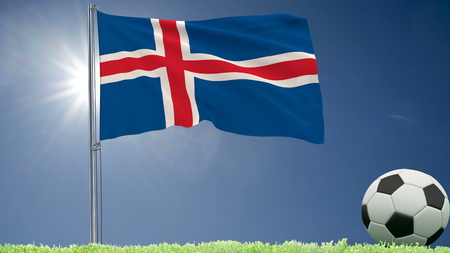 Flag of Iceland fluttering and a football rolls on the lawn, 3d rendering