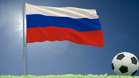 Flag of Russia fluttering and a football rolls on the lawn, 3d rendering Stock Photo