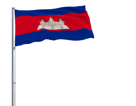 Isolate flag of Cambodia on a flagpole fluttering in the wind on a white background, 3d rendering Stock Photo