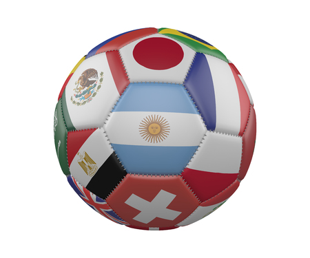 Football SoccerBall with Flags isolated on white background, Argentina in the center, 3d rendering