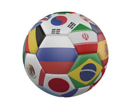 Football SoccerBall with Flags isolated on white background, Russia in the center, 3d rendering Stock Photo