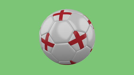 Soccer ball with the England flag isolate on a green background, 3D rendering