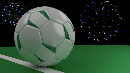 Soccer ball with the flag of Nigeria crosses the goal line under the salute, 3D rendering