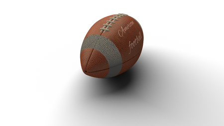 Isolated American football ball with text American football casting shadow on white background, 3d rendering