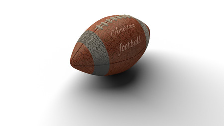 American football ball with text American football casting shadow on white background, 3d rendering