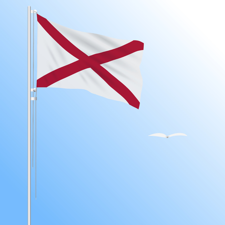 Realistic flag of Alabama, USA against the blue sky in the wind, vector.