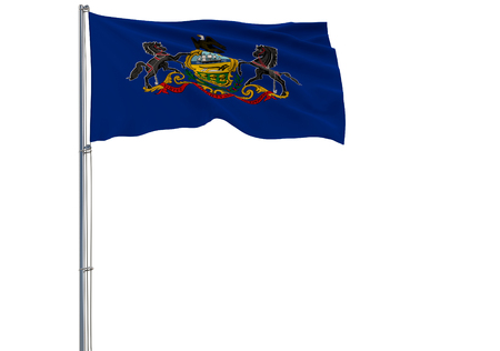 Isolated flag of the US state of Pennsylvania is flying in the wind, 3d rendering. Imagens