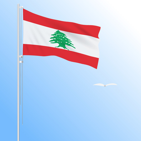 Realistic flag of Lebanon fluttering in the wind, vector.