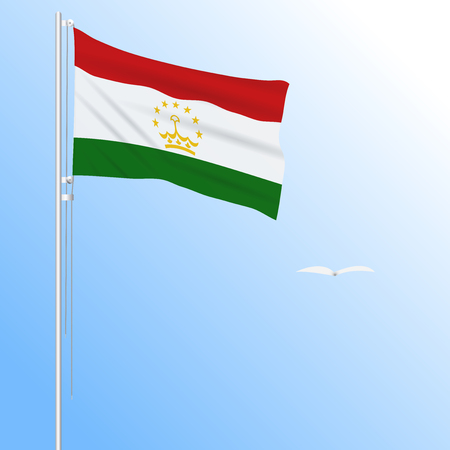 Realistic flag of Tajikistan fluttering in the wind, vector. Illustration