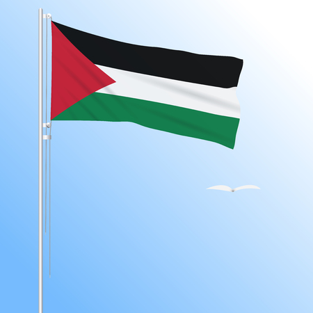 Realistic flag of Palestine fluttering in the wind, vector. Illustration