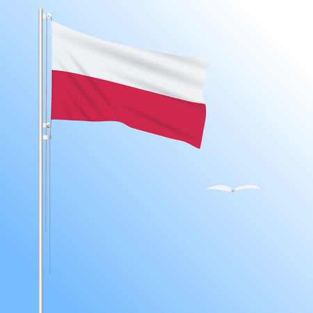 Realistic flag of Poland fluttering in the wind, vector.