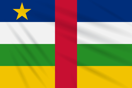 Flag Central African Republic swaying in the wind, realistic vector.