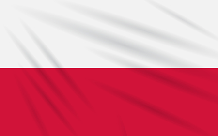 Flag Poland swaying in the wind, realistic vector.