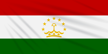 Flag Tajikistan swaying in the wind, realistic isolated on white