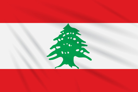 Flag Lebanon swaying in the wind, realistic isolated on white Illustration