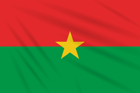 Flag Burkina Faso swaying in the wind, realistic vector.