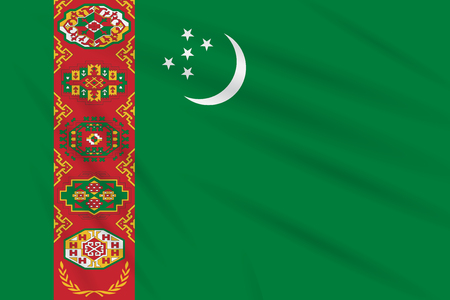 Flag Turkmenistan swaying in the wind, realistic vector. Illustration