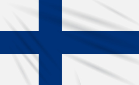 Flag Finland swaying in the wind, realistic vector.