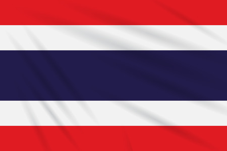 Flag Thailand swaying in the wind, realistic vector.