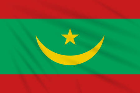 Flag Mauritania swaying in the wind, realistic vector.