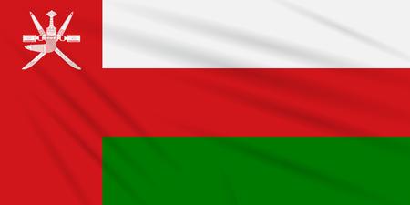 Flag Oman swaying in the wind, realistic vector. Иллюстрация