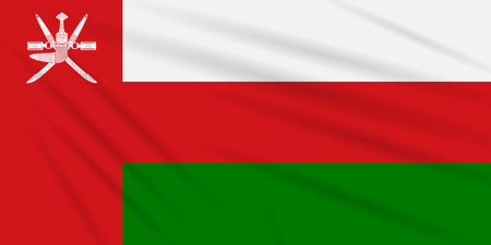 Flag Oman swaying in the wind, realistic vector. Illustration