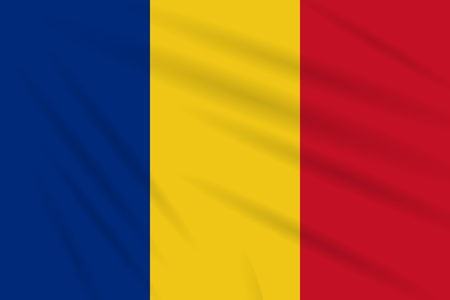 Flag Romania swaying in the wind, realistic vector.