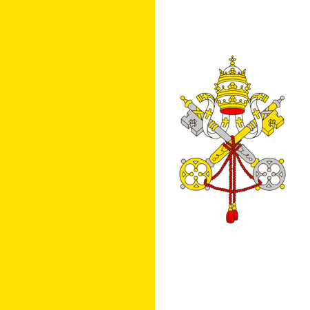 Bandiera del Vaticano in proporzioni e colori ufficiali, vettore.