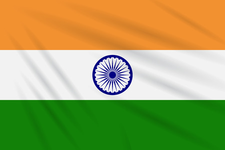 Flag India swaying in the wind, realistic vector.