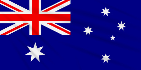 Flag Australia swaying in the wind, realistic vector