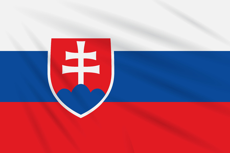 Flag Slovakia swaying in the wind, realistic vector