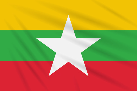 Flag Myanmar swaying in the wind, realistic vector.