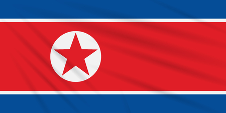 Flag North Korea swaying in the wind, realistic vector. Иллюстрация