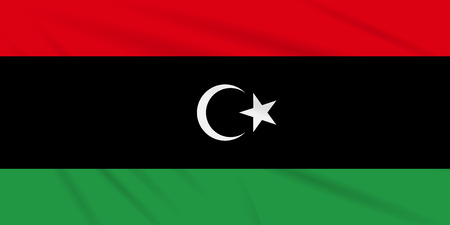 Flag Libya swaying in the wind, realistic vector.