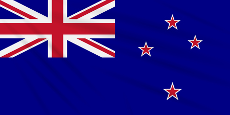 Flag New Zealand swaying in the wind, realistic vector.