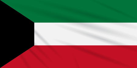 Flag Kuwait swaying in the wind, realistic vector.