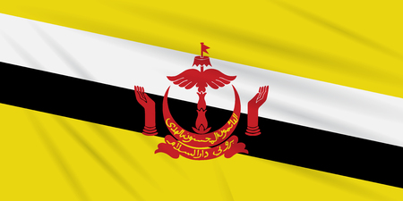 Flag Brunei Darussalam swaying in the wind, realistic vector.