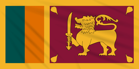 Flag Sri Lanka swaying in the wind, realistic vector. Иллюстрация