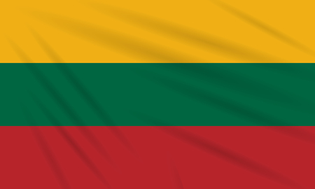 Flag Lithuania swaying in the wind, realistic vector.