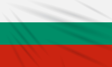 Flag Bulgaria swaying in the wind, realistic vector. Illustration