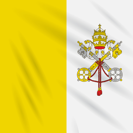 Flag Vatican City State swaying in the wind, realistic vector.