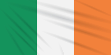 Flag Ireland swaying in the wind, realistic vector.